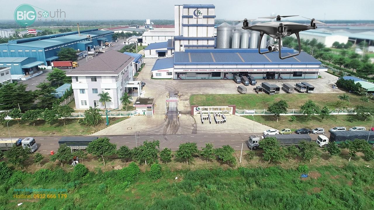 Một cảnh quay flycam công ty thức ăn gia súc Haid feed